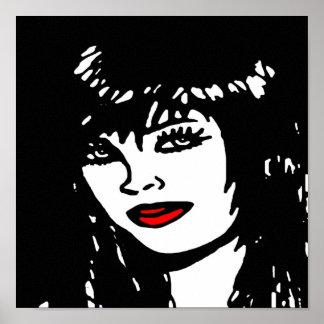 Black white & Red Pop Art Canvas Print