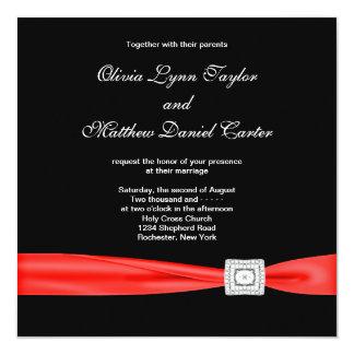Black White Red Red Black Wedding 13 Cm X 13 Cm Square Invitation Card