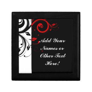 Black White Red Reverse Swirl Personalized Gift Box