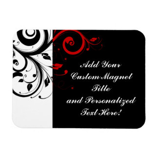 Black White Red Reverse Swirl Personalized Rectangular Photo Magnet