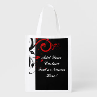 Black White Red Reverse Swirl Personalized Market Totes