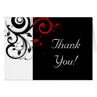 Black + White / Red Reverse Swirl Thank You Cards