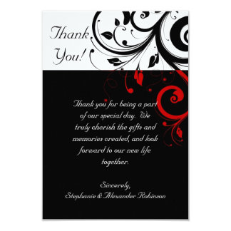Black/White/Red Reverse Swirl Thank You Note Cards 9 Cm X 13 Cm Invitation Card