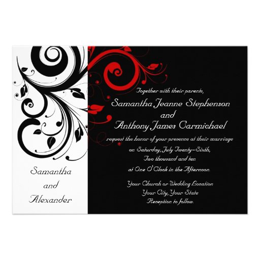 modern contemporary black wedding invitations with white and red ...