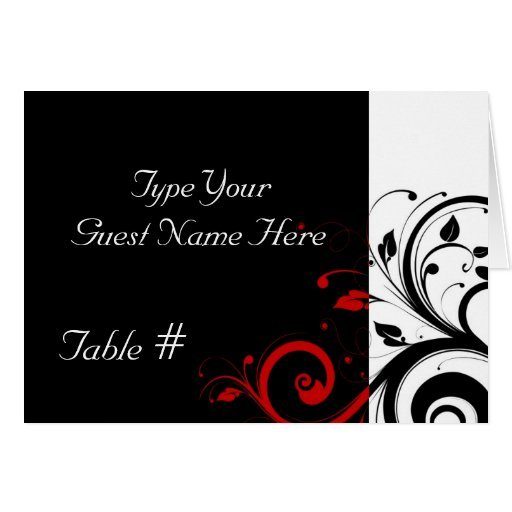 Black, White, Red Reverse Swirl Wedding Place Card