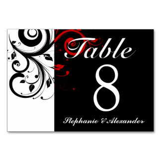 Black White Red Reverse Swirl Wedding Table Number