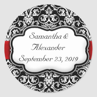 Black/White/Red Ribbon Damask Wedding Round Sticker