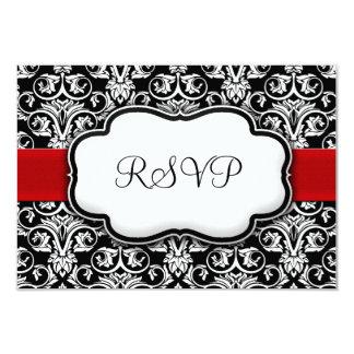 Black/White/Red Ribbon Damask Wedding RSVP Reply 9 Cm X 13 Cm Invitation Card