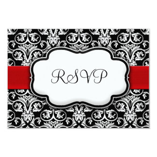 Black/White/Red Ribbon Damask Wedding RSVP Reply Card