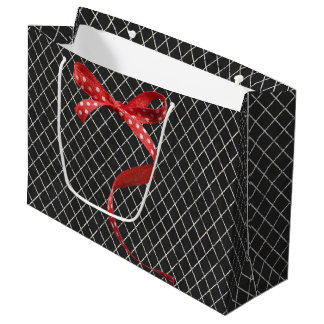 Black/White, Red Ribbon Large Gift Bag