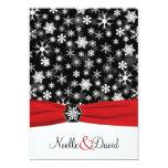 Black, White, Red Snowflakes Wedding Invitation