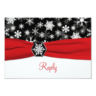 Black, White, Red Snowflakes Wedding Reply Card 9 Cm X 13 Cm Invitation Card