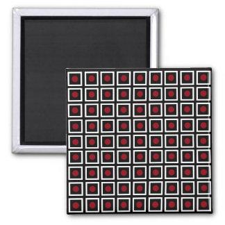 Black, White Red Square Circle Dot Modern Pattern Magnet