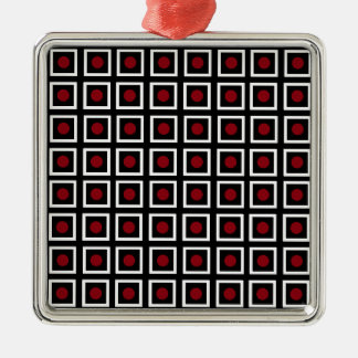Black, White Red Square Circle Dot Modern Pattern Metal Ornament