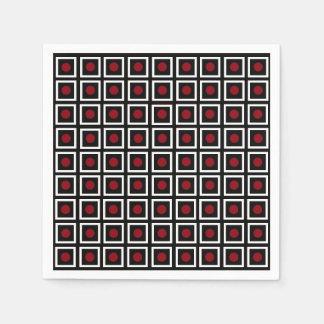 Black, White Red Square Circle Dot Modern Pattern Paper Serviettes