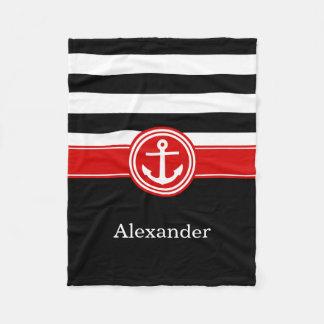Black White Red Stripe Anchor CB Monogram Fleece Blanket