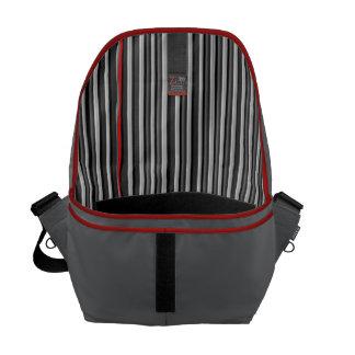 Black, White, & Red Stripe Lining Man's Commuter Messenger Bag