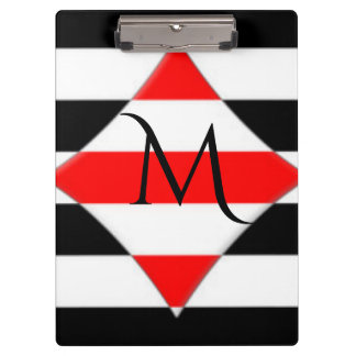 Black White Red Stripe Monogram Clipboard