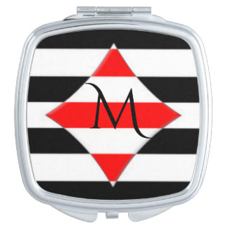 Black White Red Stripe Monogram Makeup Mirrors