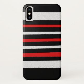 Black White Red Stripes Cool Simple Patterns iPhone X Case