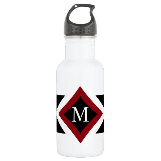 Black, White & Red Stylish Diamond Shaped Monogram 532 Ml Water Bottle