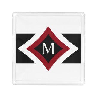 Black, White & Red Stylish Diamond Shaped Monogram Acrylic Tray