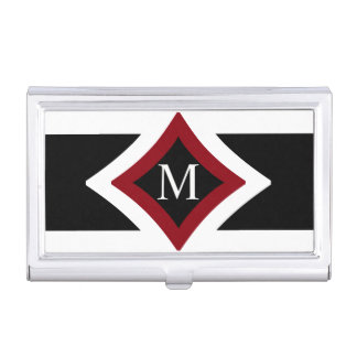Black, White & Red Stylish Diamond Shaped Monogram Business Card Holder