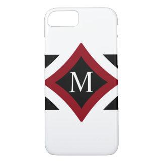 Black, White & Red Stylish Diamond Shaped Monogram iPhone 8/7 Case