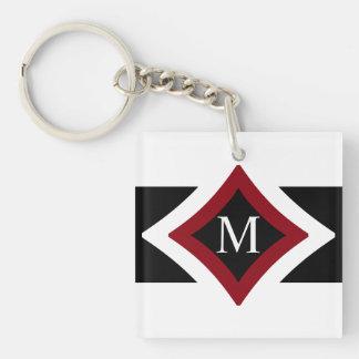 Black, White & Red Stylish Diamond Shaped Monogram Key Ring