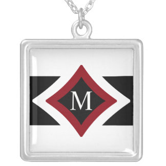 Black, White & Red Stylish Diamond Shaped Monogram Silver Plated Necklace