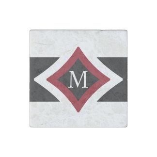 Black, White & Red Stylish Diamond Shaped Monogram Stone Magnet