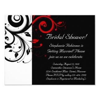 Black, White, Red Swirl Bridal Shower / General 11 Cm X 14 Cm Invitation Card