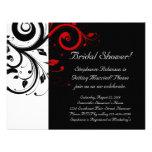 Black, White, Red Swirl Bridal Shower / General Personalized Invites
