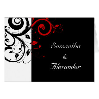 Black+White Red Swirl Folded Wedding Invitation