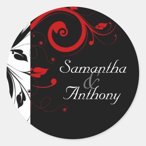 Black, White, Red Swirl Matching Envelope Seal Round Stickers