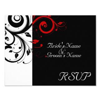 Black +White Red Swirl Wedding Matching RSVP 11 Cm X 14 Cm Invitation Card