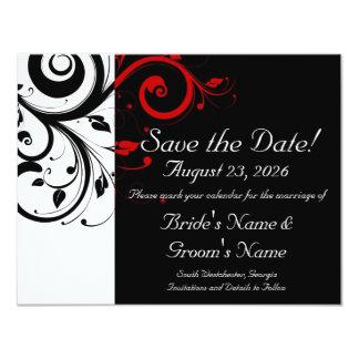 Black, White, Red Swirl Wedding Save the Date 11 Cm X 14 Cm Invitation Card