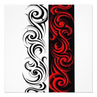 Black White Red Swirly Abstract Design Photo Print