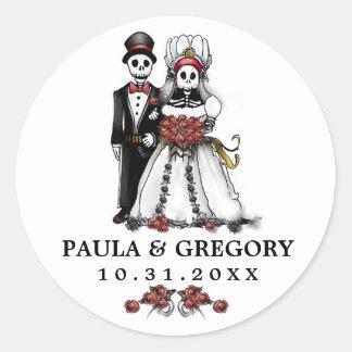 Black & White Red Wedding Skeletons Round Classic Round Sticker