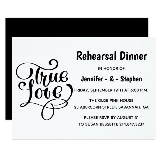 Black & White Rehearsal Dinner Love Wedding Card
