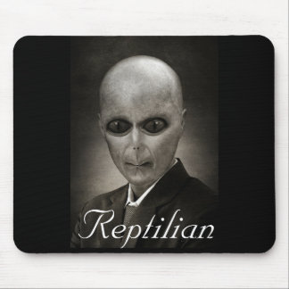 Black & White Reptilian Alien Mouse Pad