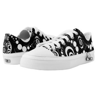Black White Retro Crop Circle Printed Shoes