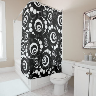 Black White Retro Crop Circle Shower Curtain