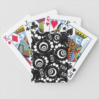 Black White Retro Crop Circles Poker Deck
