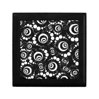 Black White Retro Crop Circles Small Square Gift Box