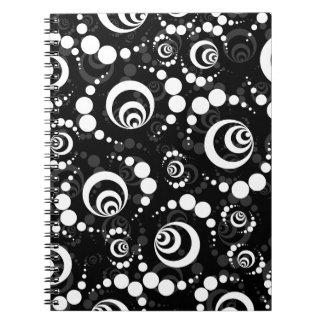Black White Retro Crop Circles Spiral Note Books