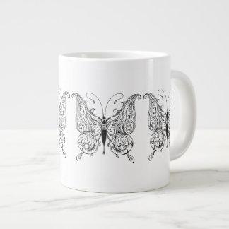 Black & White Retro Floral Butterflies 20 Oz Large Ceramic Coffee Mug
