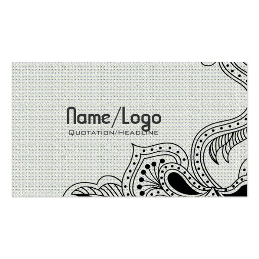 Black & White Retro Flower Design-Template Business Card Templates