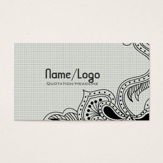 Black & White Retro Flower Design-Template Business Card