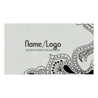 Black & White Retro Flower Design-Template Pack Of Standard Business Cards